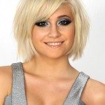 Pixie Lott Lovely Layered Short Blonde Bob Hairstyle with Bangs 2013 - 2014