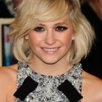 Pixie Lott Sexy Blonde Bob Hairstyle with Side Bangs 2013