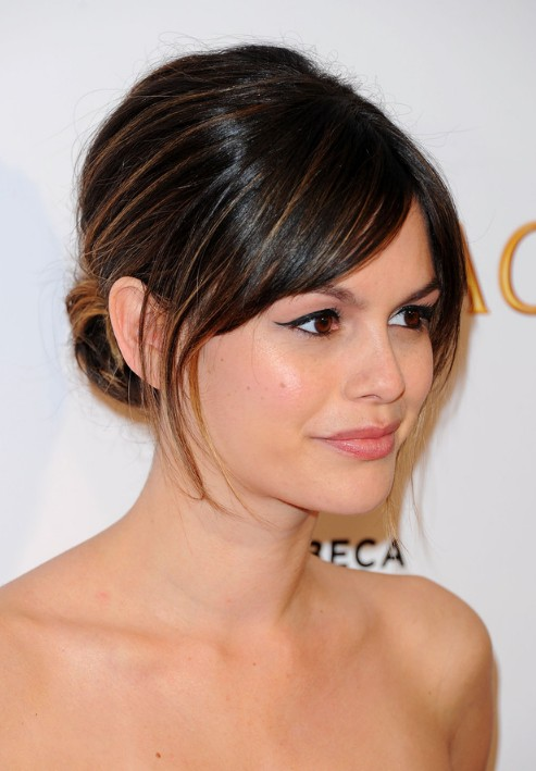 Rachel Bilson Classic Sleek Chignon Updo with Wispy Bangs