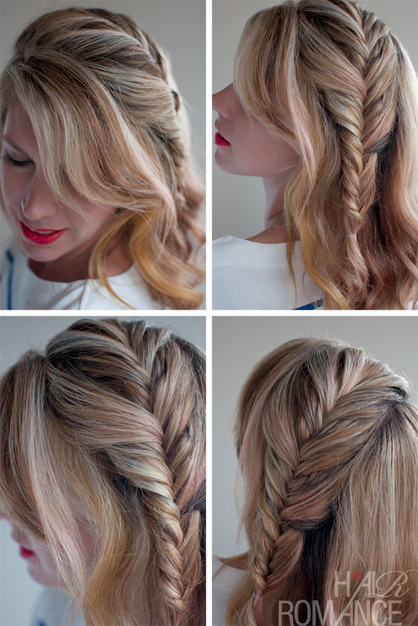 Romantic Messy Side French Fishtail Braid