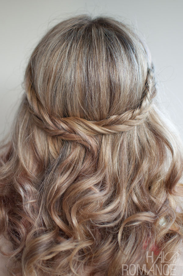 Picture of wedding hairstyle ideas romantic soft curly fishtail half