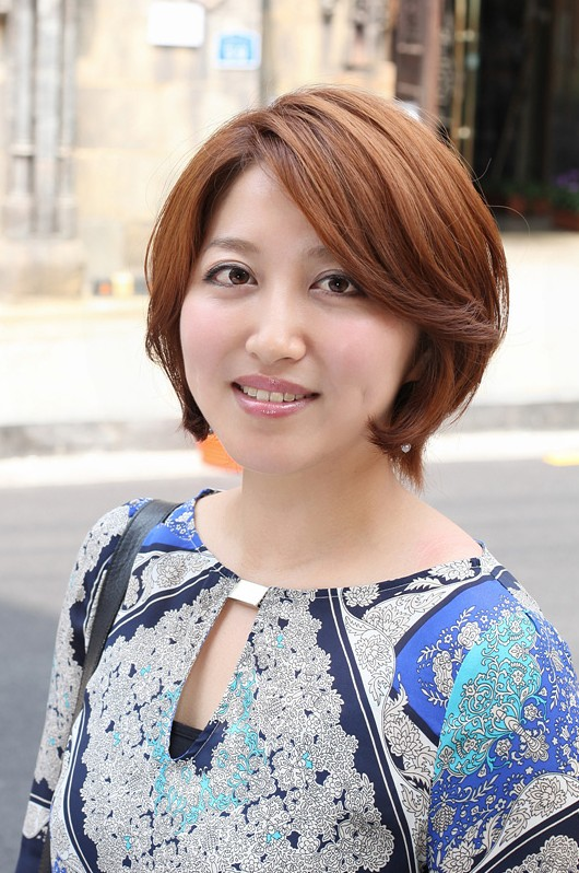 Glamorous Short Warm Coppery Brown Bob With Side Swept