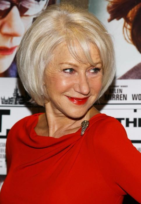 Shiny Blond Layered Bob For Women Over 60 Helen Mirren