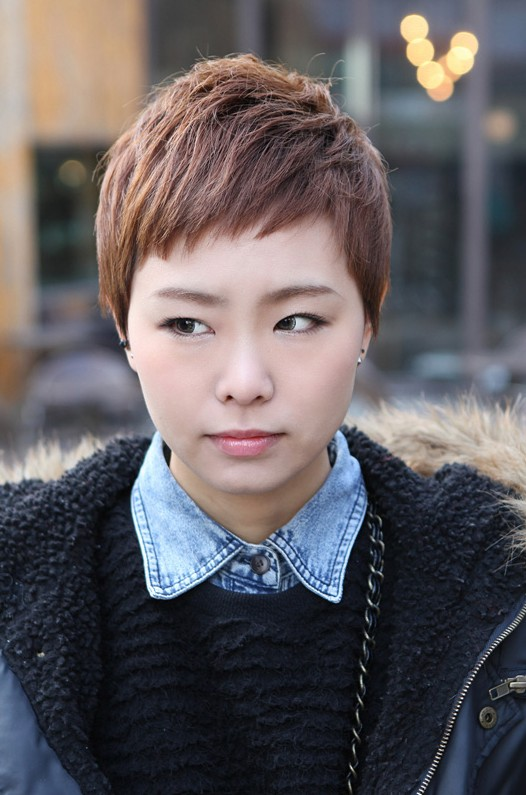 Short Layered Boyish Asian Haircut with Side Swept Bangs
