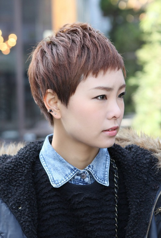 Short Layered Boyish Haircut - 2013 Trendy Short Asian Hairstyles