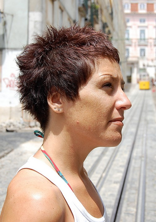 ... Red Pixie Cut for Summer - Side View of Boyish Short Red Pixie Cut