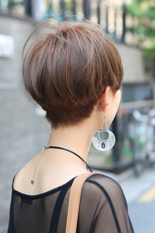 Short straight haircut for asian women – back view of asian bowl cut