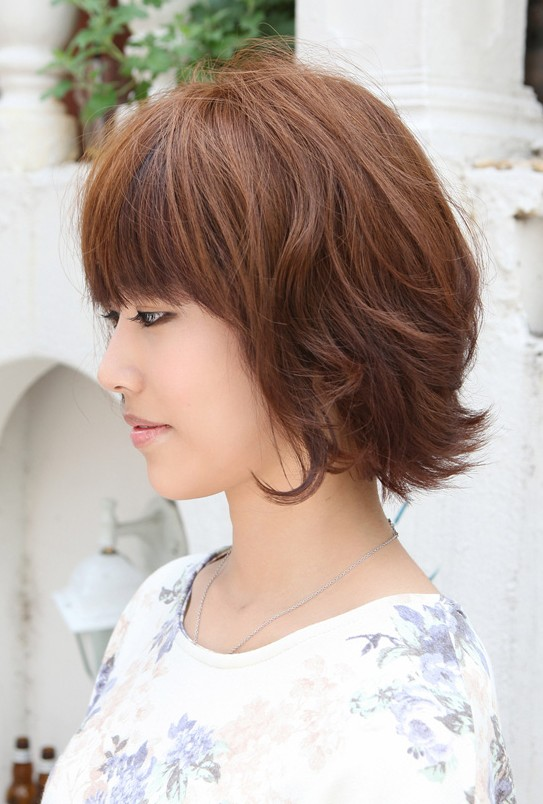Side View of Layered Short Brown Bob Hairstyle