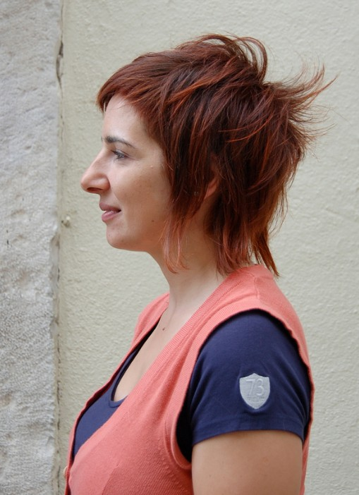 Side View of Red Shaggy Hairstyle