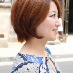 Side View of Short Auburn Bob Hairstyle