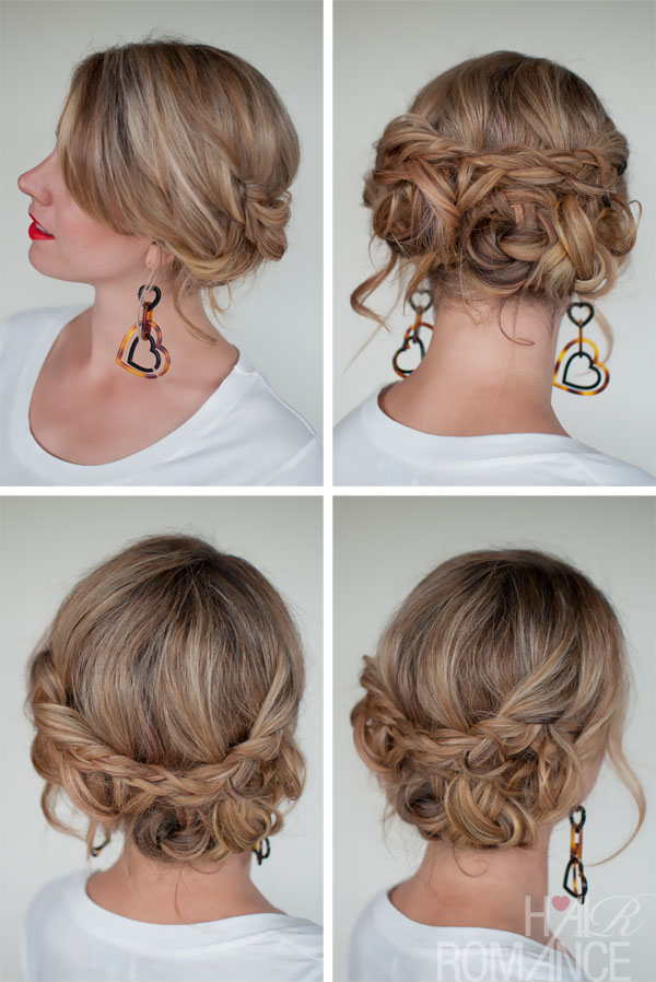 Simple Easy Casual Messy Braided Updo The Best Braided Updos For Dating Hairstyles Weekly