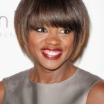 Viola Davis African American Short Sleek Bob Haircut with Bangs