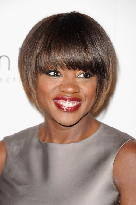African American Short Sleek Bob Haircut with Bangs