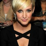 Ashlee Simpson Layered Golden Sleek Razor Cut with Bangs