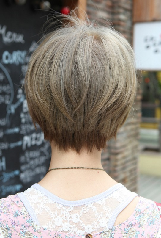 Back View of Trendy Short Straight Hairstyle