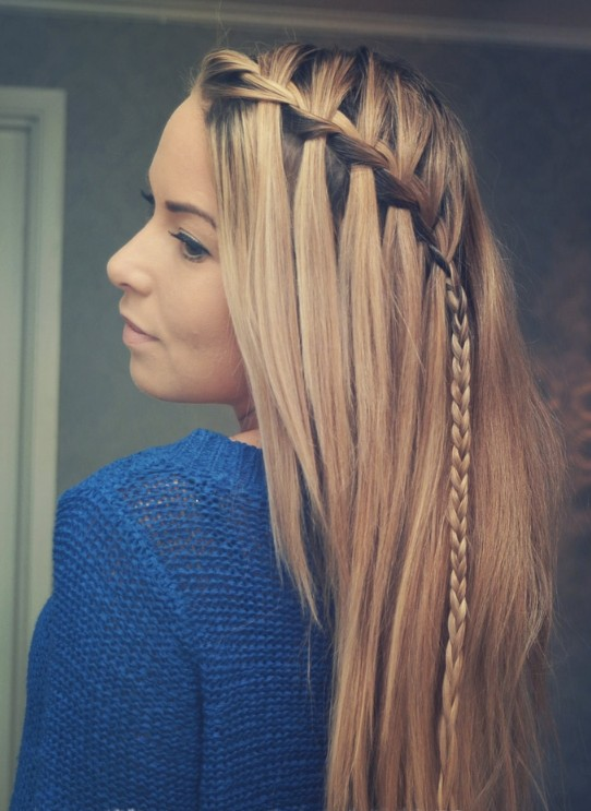 Picture of Braided Choppy Waterfall Hairstyle - Best Hairstyles for ...
