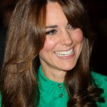 Kate Middleton Long Curly Hair Style with Bangs