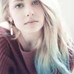 Light Blue Dip Dye on Long Hairstyle for female