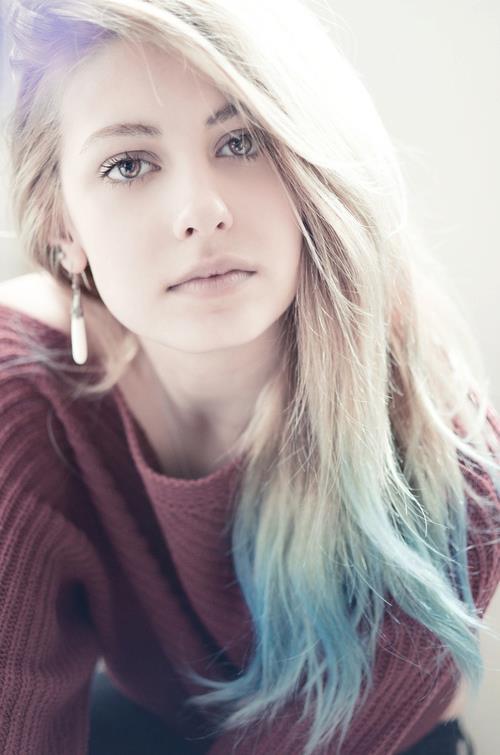 Enjoyable Light Blue Dip Dye On Long Hair Stylish Feminine Hairstyle For Short Hairstyles Gunalazisus