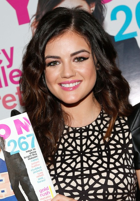 Lucy Hale Long Hairstyle With Bouncy Curls