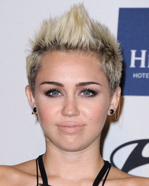 trendy short funky fauxhawk haircut for women miley