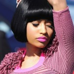 Nicki Minaj Classic Black Bob Hairstyle with Blunt Bangs