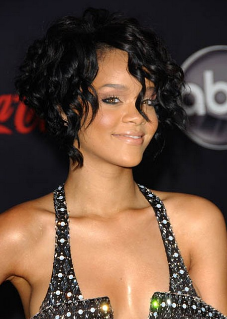 Rihanna Short Curly Hairstyle for Prom 2014
