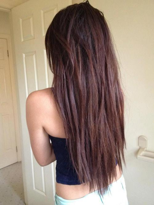straight amp choppy textured chocolate brown long hairstyle