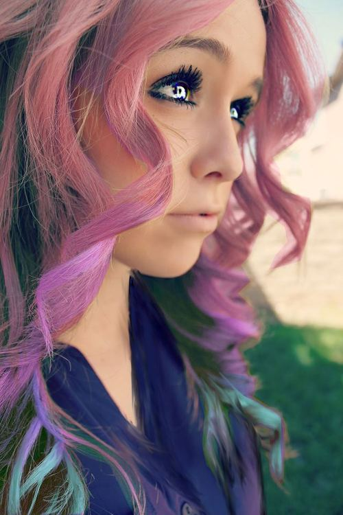 swirling rainbow waves with edge! hairstyle with bright colors