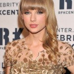 Taylor Swift Lovely Long Curly Hairstyle with Bangs