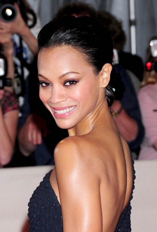 Zoe Saldana Black Bun Updo for Prom 2014