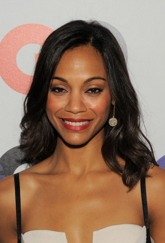 Black Women Long Hair Style Popular Long Black Wavy African American Hairstyle  Zoe Saldana .