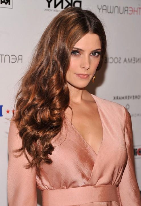 Ashley Greene Long Brown Wavy Hairstyles 2014