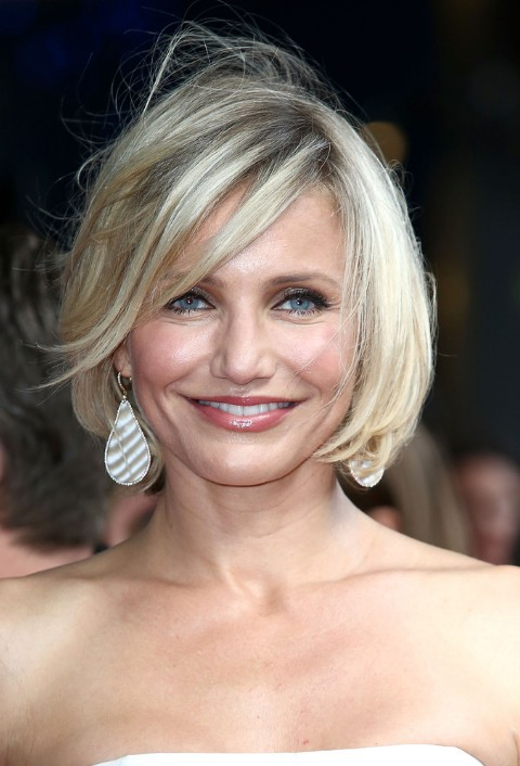 Cameron Diaz Short Bob Haircut With Side Swept Bangs