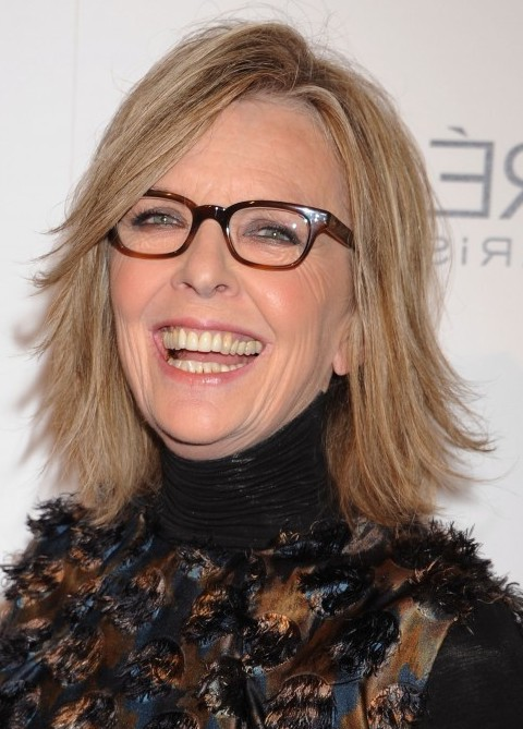 Diane Keaton shoulder length hairstyle for mature women over 60