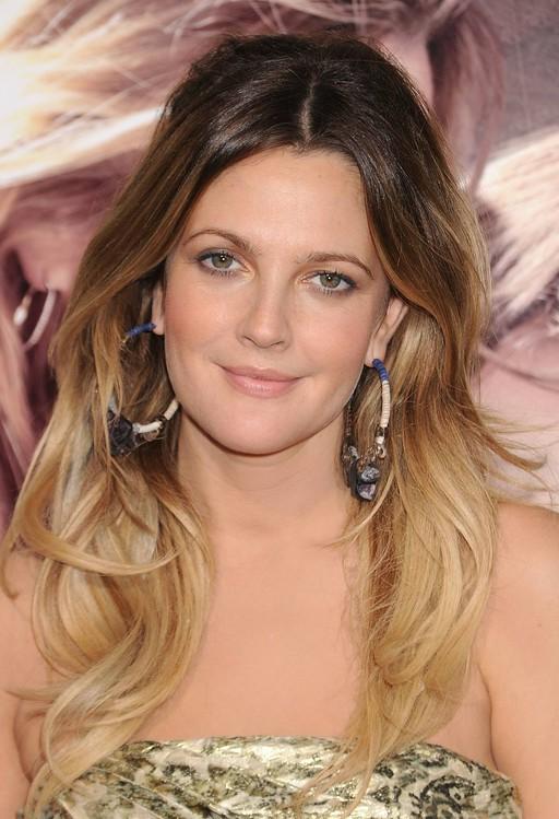 Drew Barrymore long wavy ombre hair for women