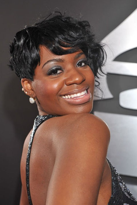 Fantasia Barrino short black hairstyle with side swept bangs for black women