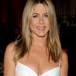 Jennifer Aniston center parted long sleek hairstyle