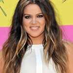 Khloe Kardashian layered long wavy hairstyle with highlights