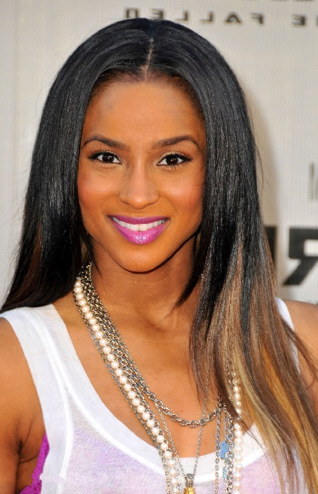 Ciara long sleek black blonde hairstyle black women
