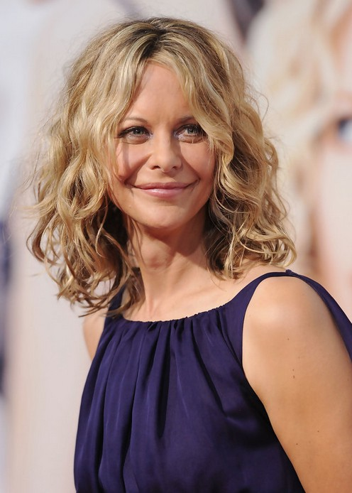 Feminine Soft Wavy Curly Long Bob Hairstyle Meg Ryan