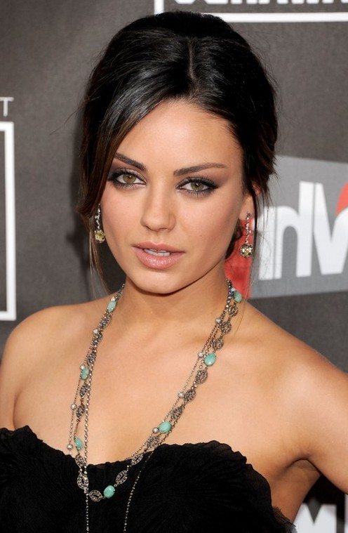 Prom Updo Dark Chignon Feathery Beige Blonde Tips From Mila Kunis