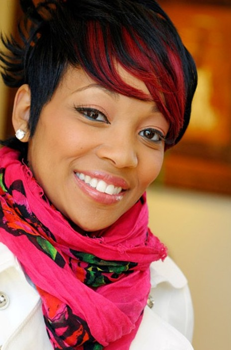 Short Black Hairstyle With Fiery Red Fringe Monica