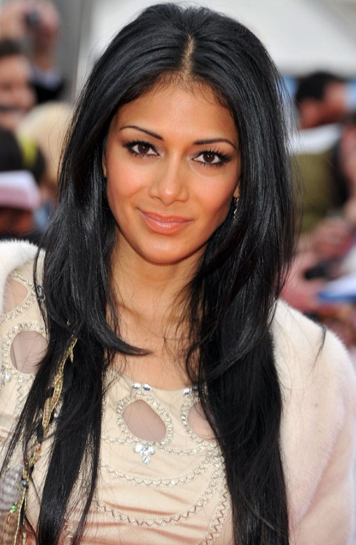 2014 Center Parted Long Black Straight Hairstyle for Women Nicole Scherzinger Hairstyles