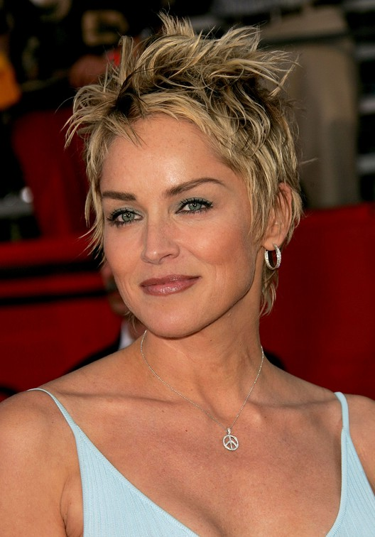 ... tousled short pixie haircut for women over 50: Sharon Stone Hairstyles