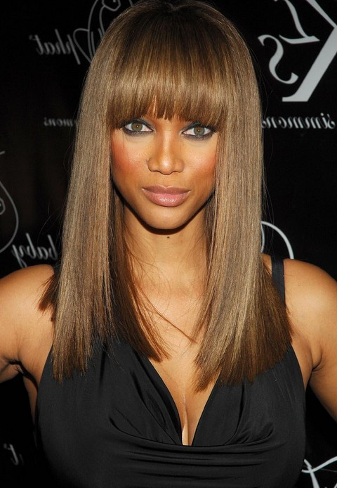 Tremendous Tyra Banks39 Long Hairstyle Straight Hairstyle With Blunt Bangs Hairstyles For Women Draintrainus