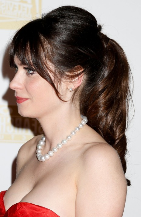 Classic Feminine Evening Style  Side View of Zooey   s Loose PonytailZooey Deschanel Bangs Cut