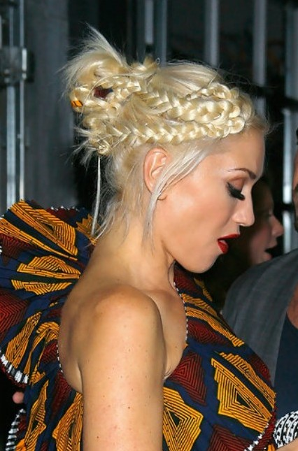Cute braided updo for women - Gwen Stefani's Hairstyle