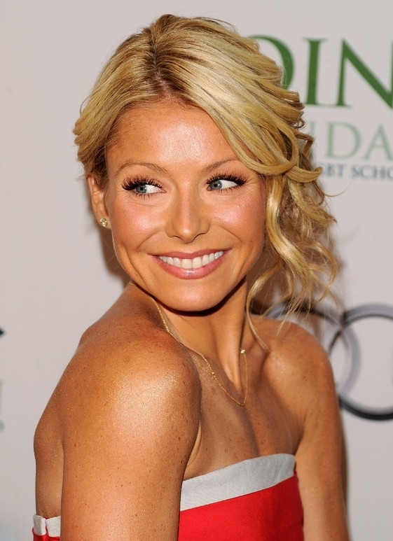 Excellent Loose Updo Lively Blonde Side Swept Glamour Kelly Ripa39S Hairstyle Inspiration Daily Dogsangcom