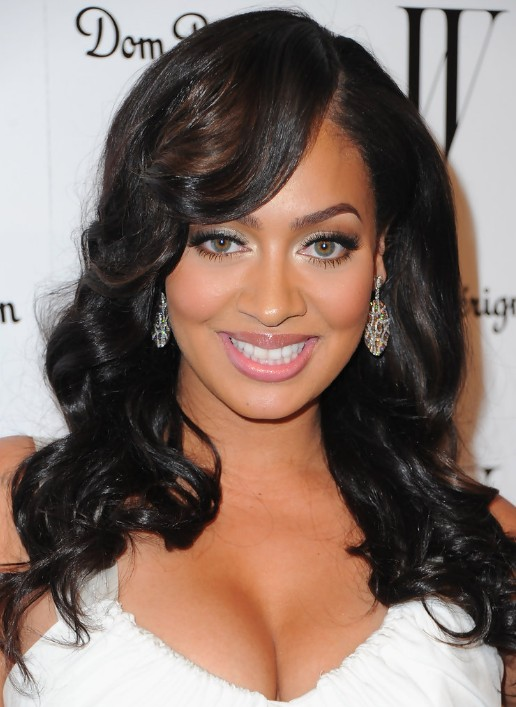 Awesome High Glamour Glossy Black Waves With Side Swept Bangs La La Short Hairstyles For Black Women Fulllsitofus